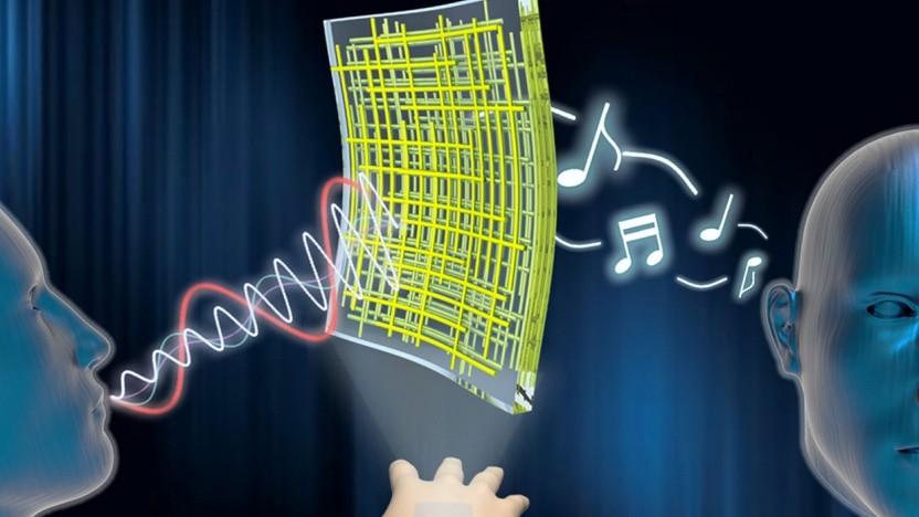Lautsprecher aus Nanomaterialien: Die Membran ist auch als Mikrofon nutzbar.