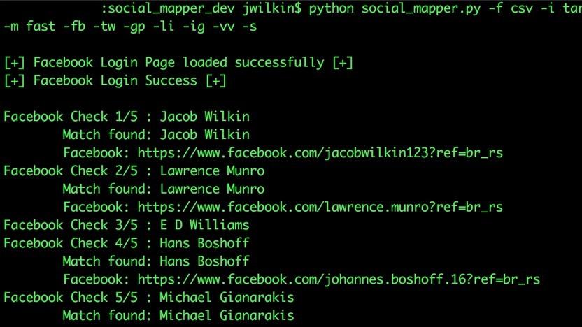 Social Mapper arbeitet eine große Anzahl von Zielpersonen ab.