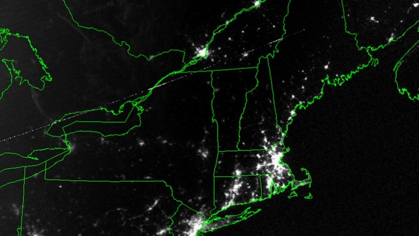 Satellitenbild vom Blackout an der US-Ostküste im Jahr 2003