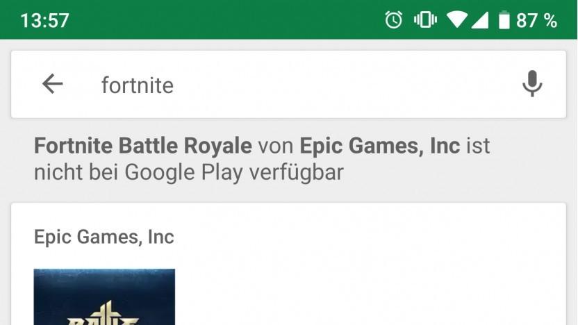 Googles Hinweis auf das fehlende Fortnite Battle Royale
