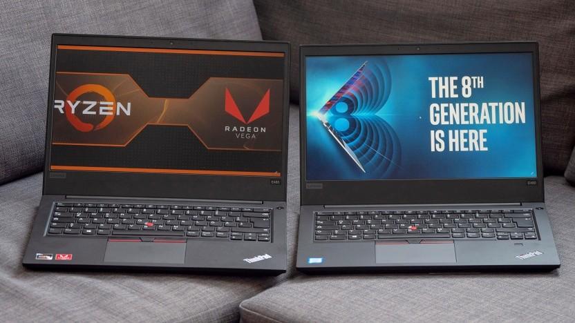 Lenovos Thinkpad E485 (links) und Thinkpad E480 (rechts) nebeneinander