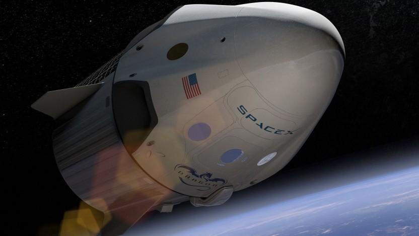 Raumschiff Crew Dragon (künstlerische Darstellung): keine Landung auf festem Boden