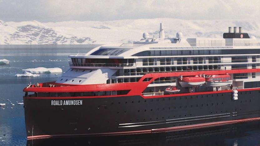 Hurtigruten-Kreuzfahrtschiff Roald Amundsen mit Hybridantrieb