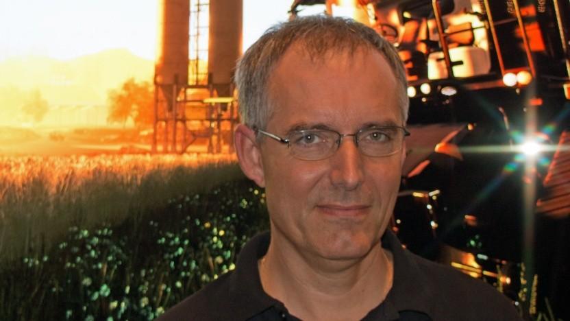 Yann Le Tensorer, COO von Giants Software, auf der Entwicklerkonferenz Devcom 2018