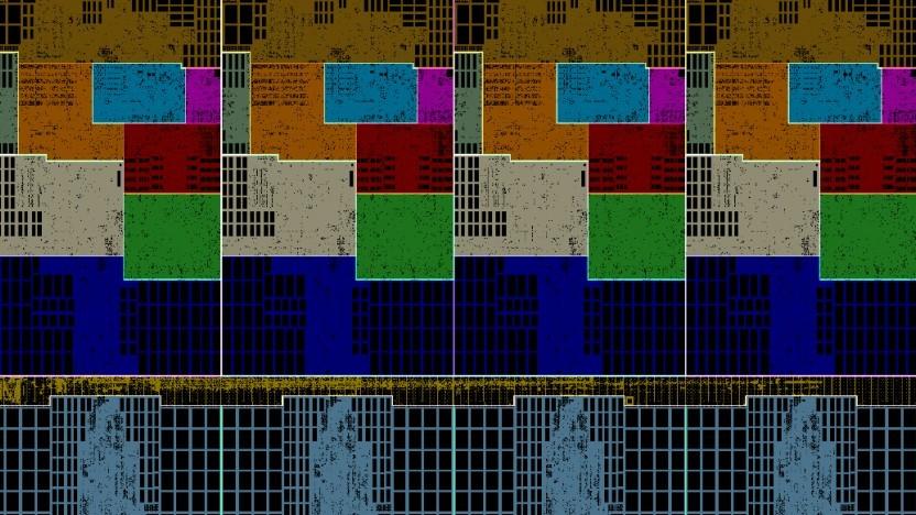 Floorplan eines Clusters mit vier M3-Cores
