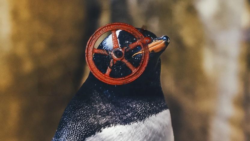 Das Linux-Wahrzeichen mit rotem Ventil im Auge in Anlehnung an Valves Firmenlogo