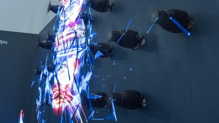 Die Hypervsn-Wand stellt Bilder auf rotierenden LED-Streifen dar.