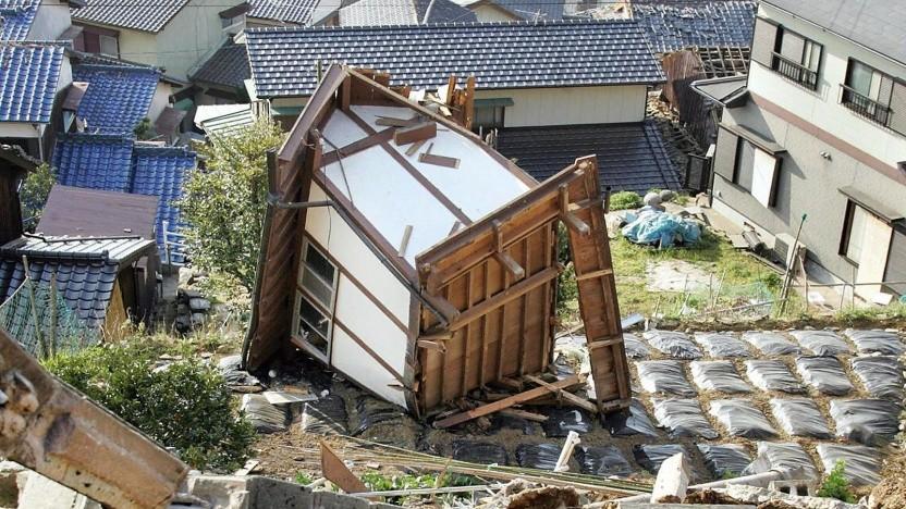 Von einem Erdbeben zerstörtes Haus in Japan (2005)