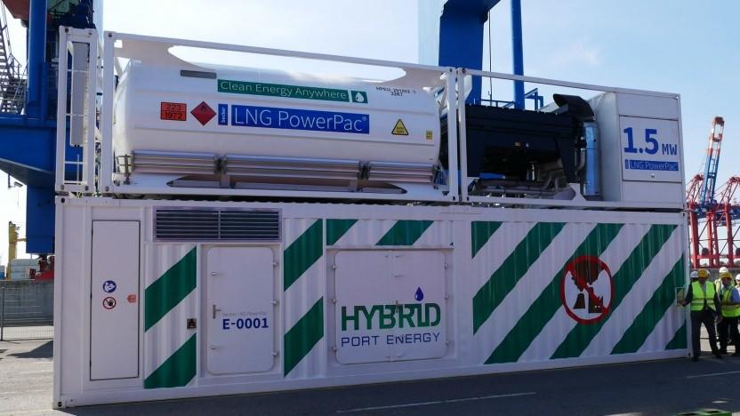 Reduktion von Kohlendioxid, Stickoxid, Schwefeloxid und Feinstaubpartikeln beim Einsatz des Power Pacs im Hamburger Hafen