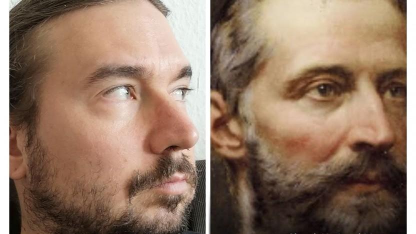 Wie Zwillinge: Der Autor dieses Textes und Alexander Andrássy, der im Slowakischen Nationalmuseum hängt.
