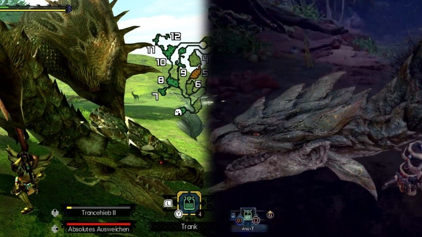 Das Monster Rathian links in Generations Ultimate, rechts in World