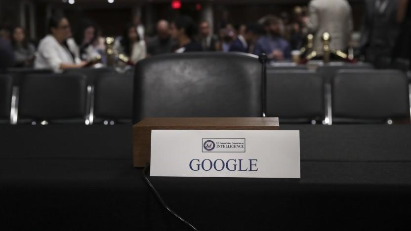 Der für Google reservierte Stuhl vor dem US-Senat blieb am Mittwoch leer.