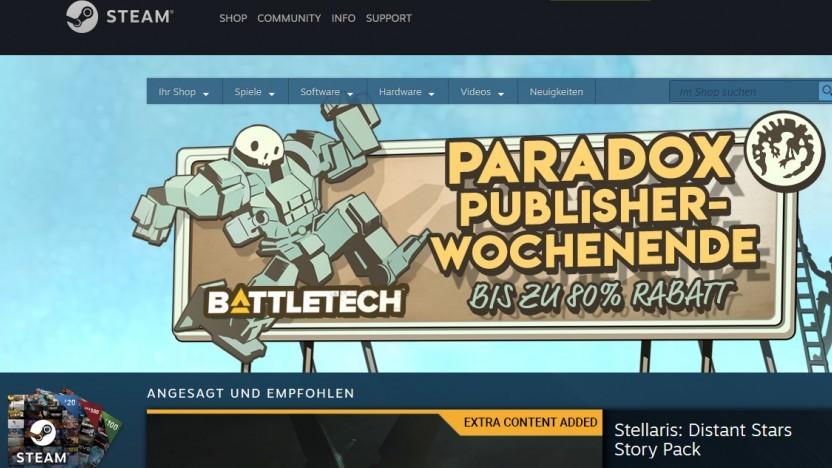 Startseite von Steam