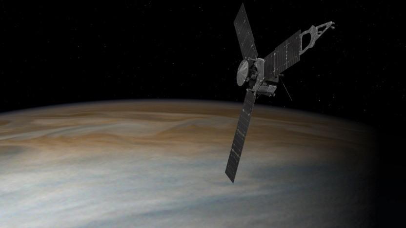 Raumsonde Juno über dem Juiter (künstlerische Darstellung): Die Forscher waren perplex.