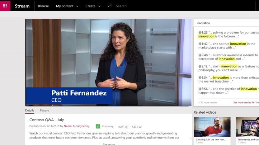 Zu den Neuerungen in Office 365 zählt Microsoft Stream.