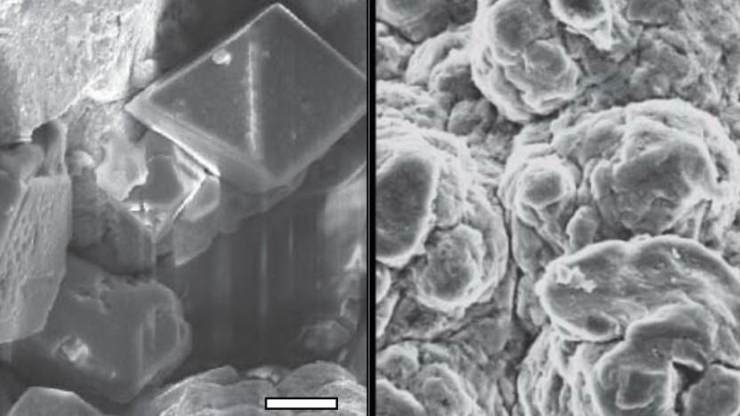 Mikroskopische Bilder vor dem Laden der Batterie (links) und danach - der Maßstab ist 2 Mikrometer groß