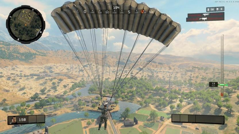 Mit Fallschirm landen Spieler auf der Insel.