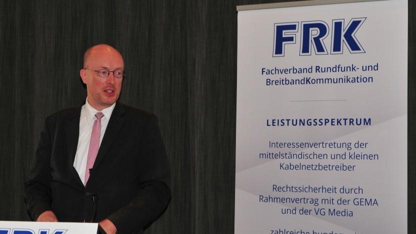 Christian Pegel bei seiner Rede beim FRK Breitbandkongress in Leipzig