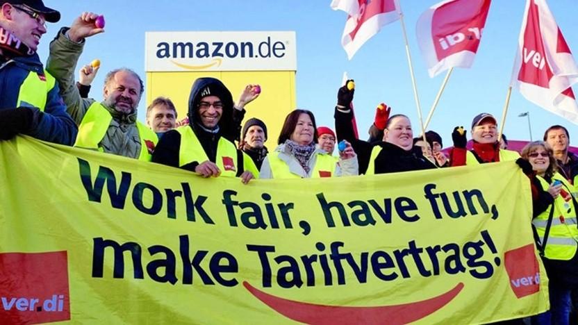 Arbeiter bei Amazon streken