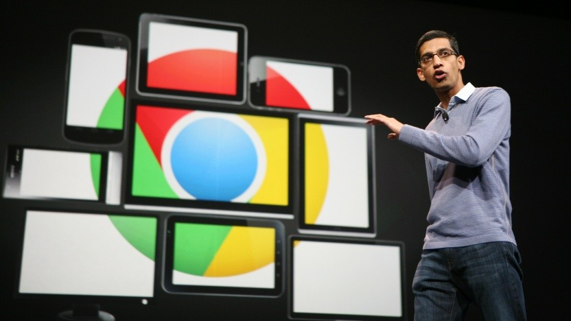 Google-Manager Sundar Pichai präsentiert auf einer Konferenz den Browser Chrome. Wenn es um Datenschutz geht, gibt sich Google weniger gesprächig.