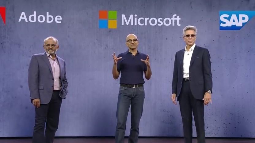 Adobe-CEO Shantanu Narayen (l.), Microsoft-CEO Satya Nadella (Mitte) und SAP-CEO Bill McDermott (r.)