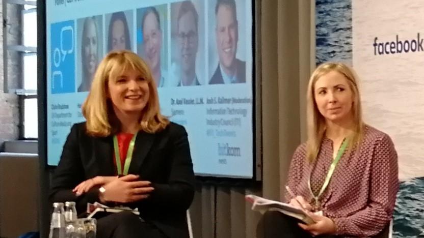 Die britische Regierungsvertreterin Claire Bradshaw (links) und die irische Datenschutzbeauftragte Helen Dixon auf der Bitkom-Datenschutzkonferenz in Berlin