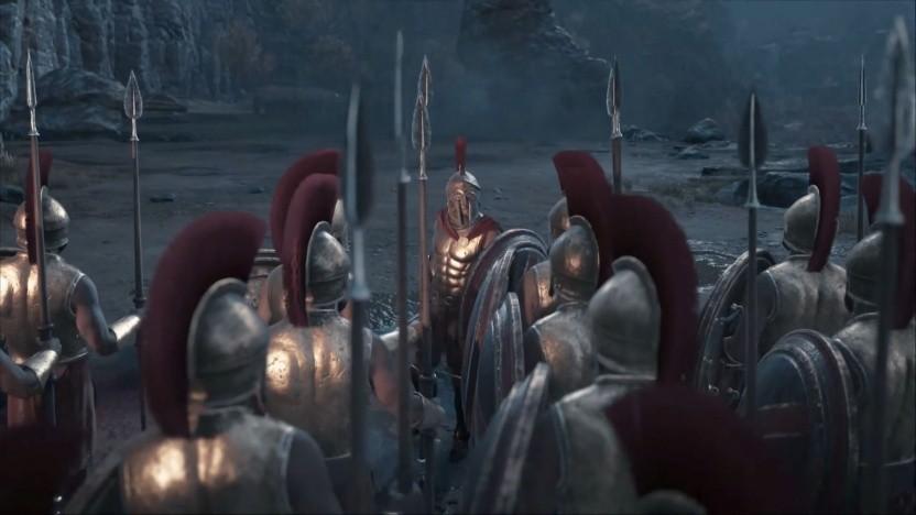 Die Spartaner ziehen in die Schlacht.
