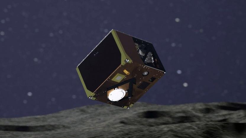 Mascot bei der Landung (künstlerische Darstellung): mit einer Hoppelbewegung über den Asteroiden