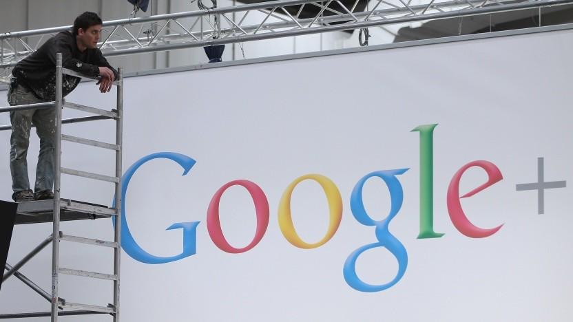 Frühes Logo von Google Plus auf der Cebit 2012