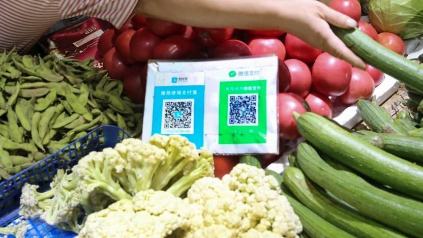 QR-Code für Alipay und Wechat auf einem Markt in China.