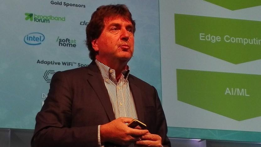 Telekom-Manager Axel Clauberg spricht auf dem BBWF in Berlin.