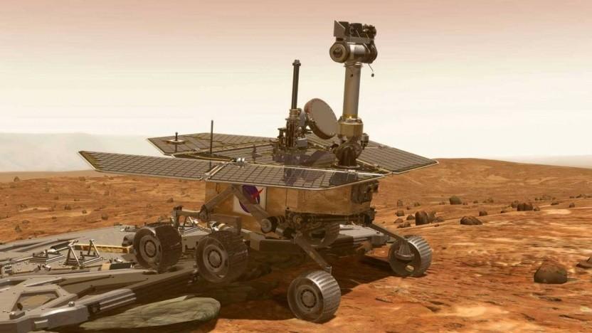 Der Marsrover Opportunity in einer künstlerischen Darstellung