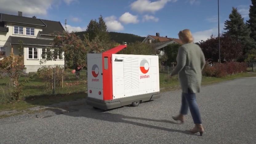 Robotischer Briefträger der Posten Norge: Benachrichtigung und Authentifizierung per App