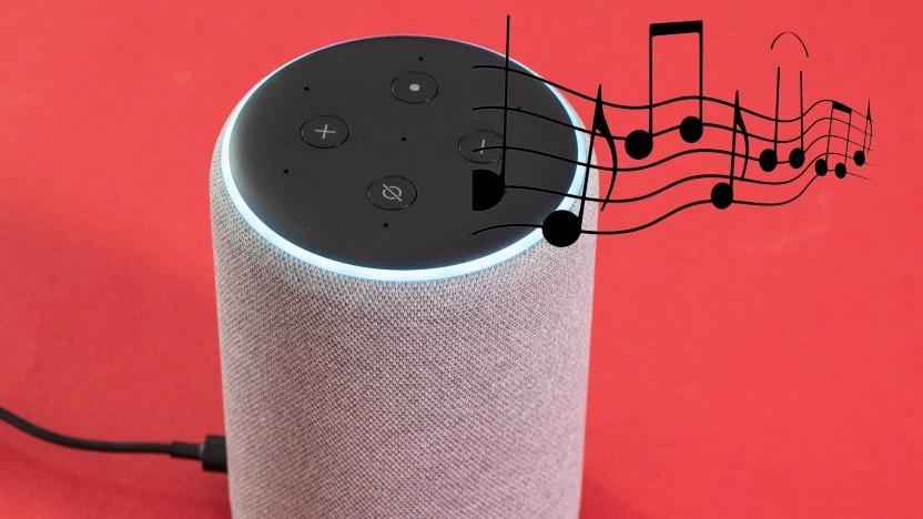 Alexa spielt Musik nach Sprachkommandos ab.