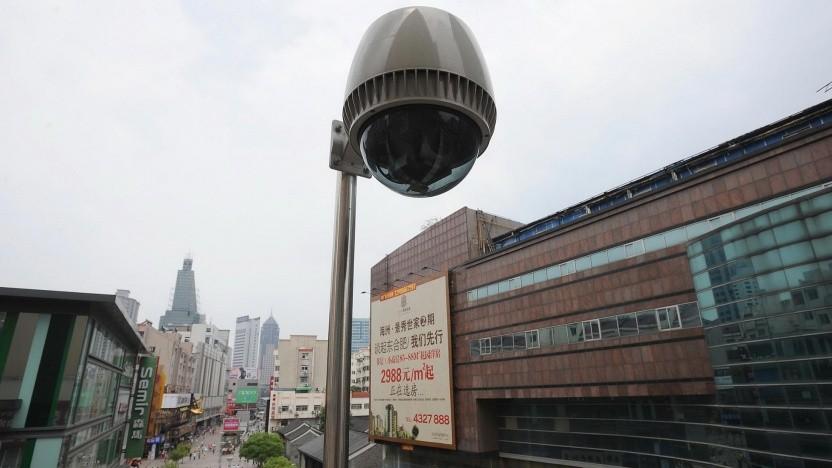 Überwachungskamera in China (Symbolbild): Biometrisches System erkennt Person aus 50 Metern Entfernung von hinten.