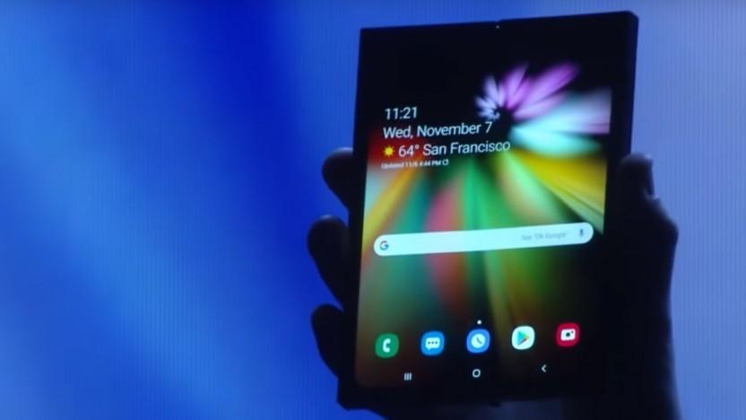 Bei der Präsentation des Infinity-Flex-Display wurde es dunkel - schließlich konnte Samsung noch kein fertiges Gerät präsentieren.