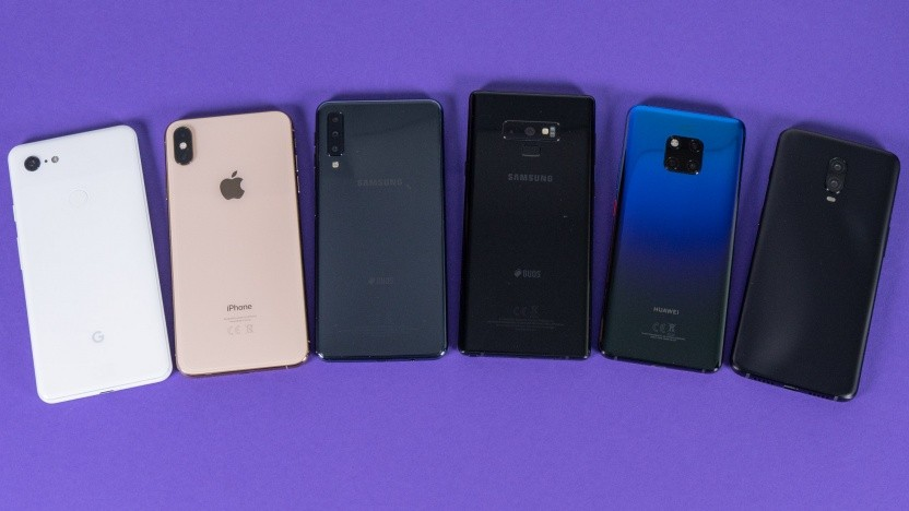 In unserem Test: das Pixel 3 XL, iPhone Xs Max, Galaxy A7, Galaxy Note 9, Mate 20 Pro, Oneplus 6T