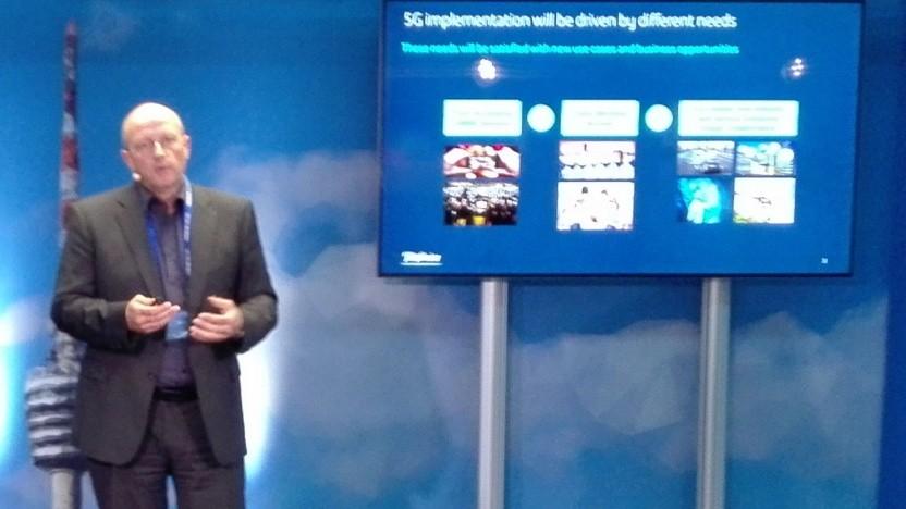Gerald Huber, Senior Manager 5G Programm bei Telefónica, spricht in Stuttgart.