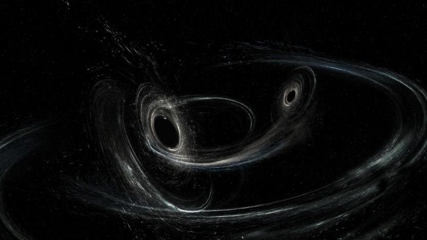 Künstlerische Darstellung von zwei schwarzen Löchern kurz vor der Verschmelzung: zwei Signale im Monat