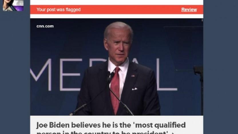 Joe Biden ist einfach zu anstößig, denkt zumindest Tumblrs Algorithmus.