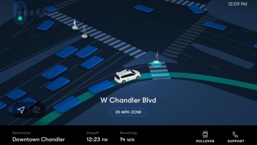 So sehen die Fahrgäste des autonomen Taxis die Route.