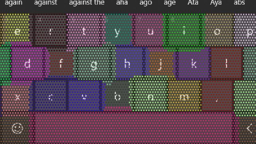 Die Touch-Tastatur passt die Tastengröße dynamisch an.