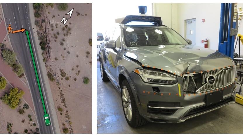 Unfall mit autonomem Uber-Auto: Autonomer Volvo fuhr auf dem Bürgersteig.