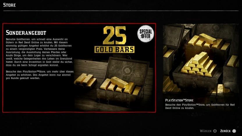 Goldbarren im Store von Red Dead Redemption 2