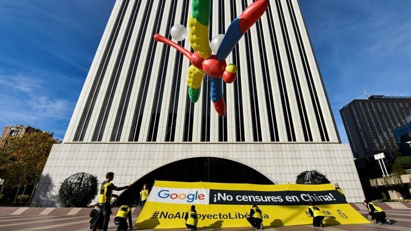 Demonstration gegen Google und Dragonfly (Ende November in Madrid): Die Entwickler erstellten eine Liste mit blockierten Websites.
