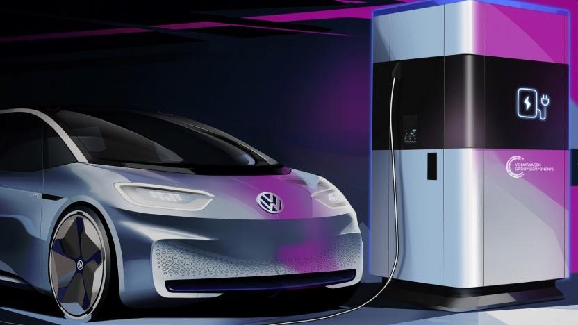 Mobile Schnellladesäule von VW