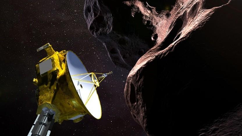 Künstlerische Darstellung des Vorbeiflugs von New Horizons an Ultima Thule: 20 Monate für Datendownload