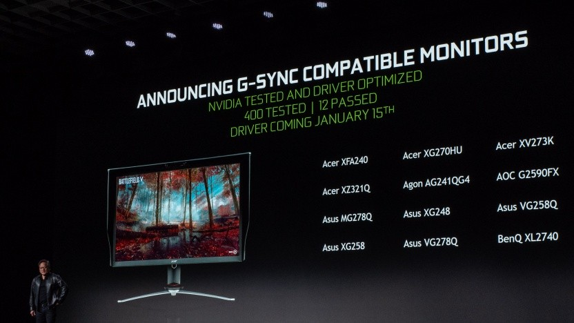 Nvidia-CEO Jensen Huang stellt G-Sync Compatible vor.