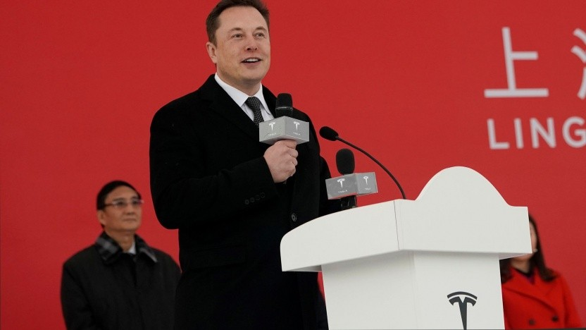 Elon Musk beim Spatenstich in Schanghai: Die teuren Elektroautos werden weiterhin in den USA gebaut.