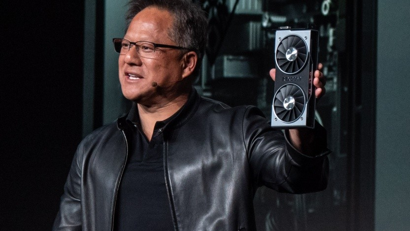 Nvidia-CEO Jensen Huang zeigt die Geforce RTX 2060.